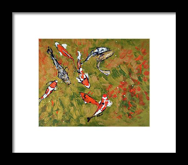 Fish Framed Print featuring the painting Koi 201746 by Alyse Radenovic