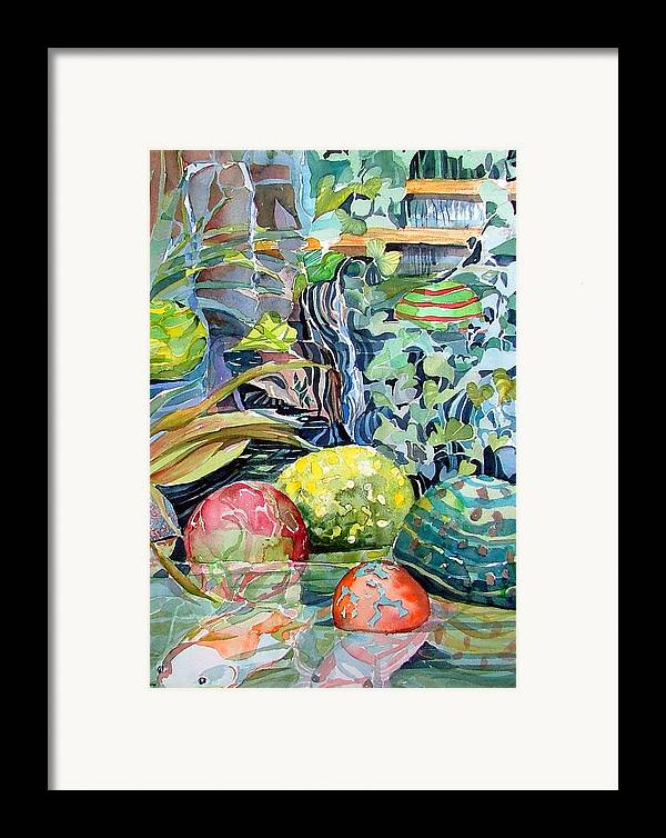 Waterfall Framed Print featuring the painting Koi And Waterfall by Mindy Newman