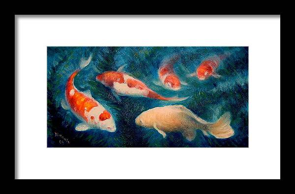 Realism Framed Print featuring the painting Koi Ballet 2 by Donelli DiMaria