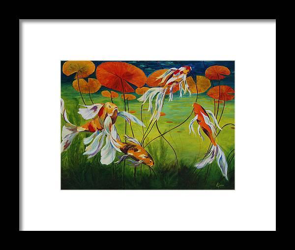 Koi Framed Print featuring the painting Koi Dance by Karen Dukes