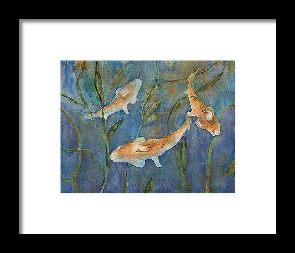Fish Framed Print featuring the painting Koi by Diane Ziemski