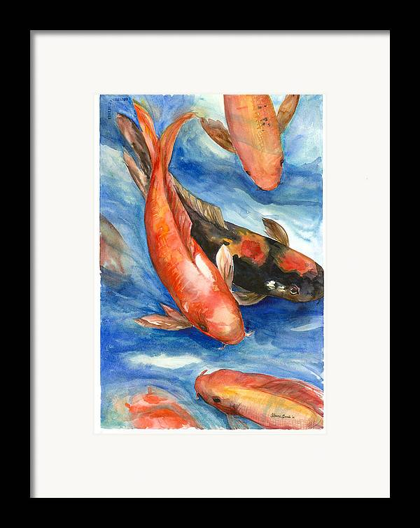 Fishes Framed Print featuring the painting Koi Fish by Ileana Carreno