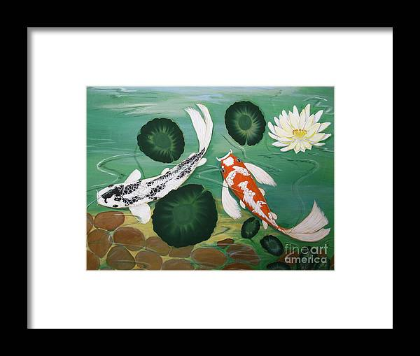Koi Framed Print featuring the painting Koi Fish Two by Gladys Toland