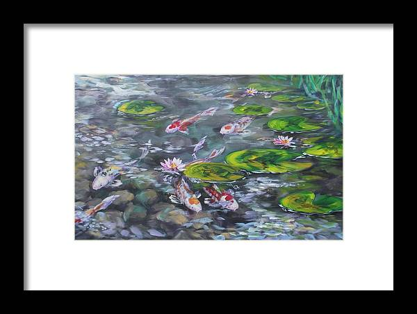 Koi Fish Lily Pad Pond Reeds Rocks Blue Green White Red Orange Water Waterscape Nature Framed Print featuring the painting Koi Haven by Alan Scott Craig