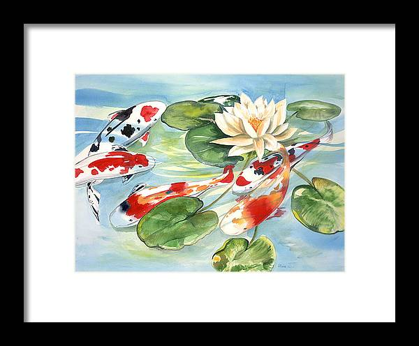 Nature Pond With Koi Framed Print featuring the painting Koi In The Water Lilies by Ileana Carreno