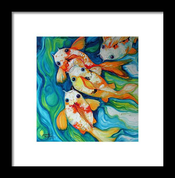 Fish Framed Print featuring the painting Koi Inny Minny Miney Moe by Marcia Baldwin
