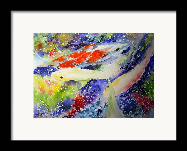 Koi Framed Print featuring the painting Koi by Joanne Smoley