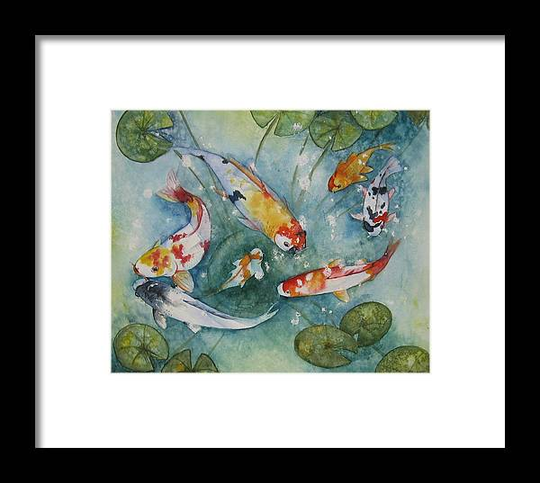 Koi Framed Print featuring the painting Koi With Lilies by Gina Hall