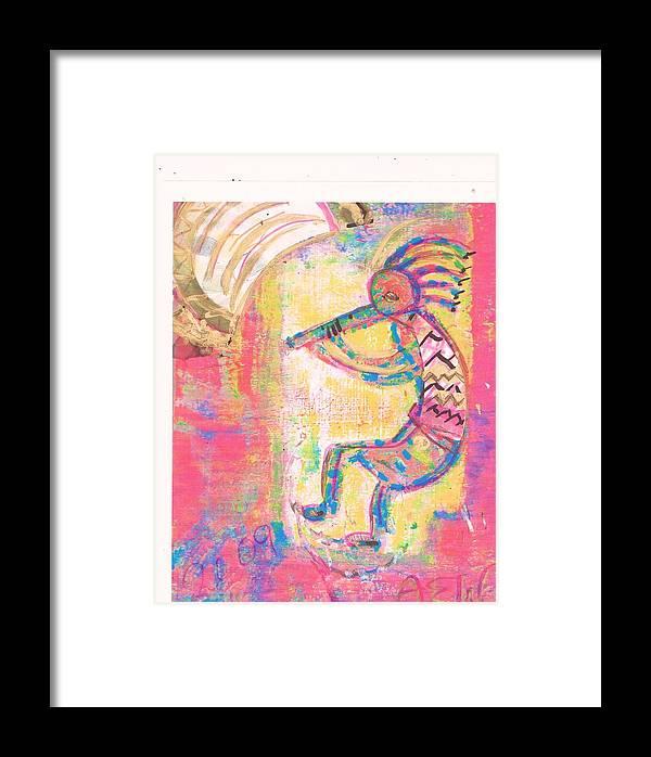 Kokopelli Framed Print featuring the mixed media Kokopelli Sleepy Dance by Anne-Elizabeth Whiteway