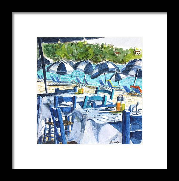 Blue Framed Print featuring the painting Kolios Blue by Yvonne Ayoub