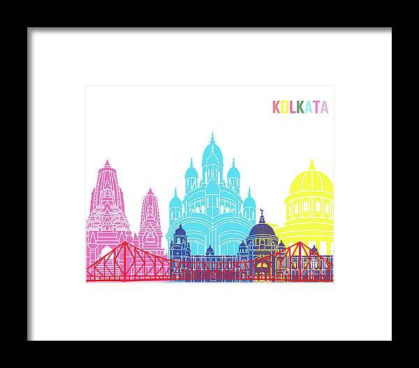 Kolkata Framed Print featuring the painting Kolkata Skyline Pop by Pablo Romero