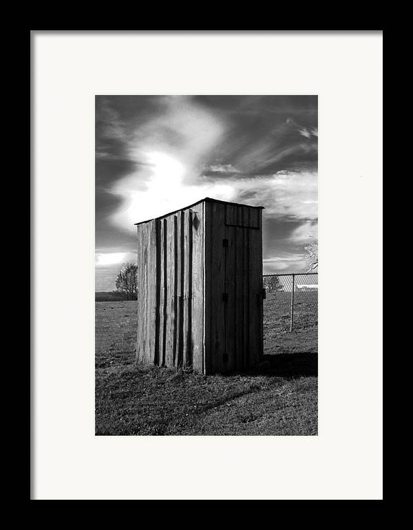 Ansel Adams Framed Print featuring the photograph Koyl Cemetery Outhouse by Curtis J Neeley Jr