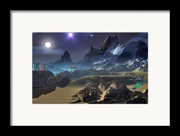 David Jackson Krill City Stardock Alien Landscape Planets Scifi Framed Print featuring the digital art Krill City Stardock. by David Jackson
