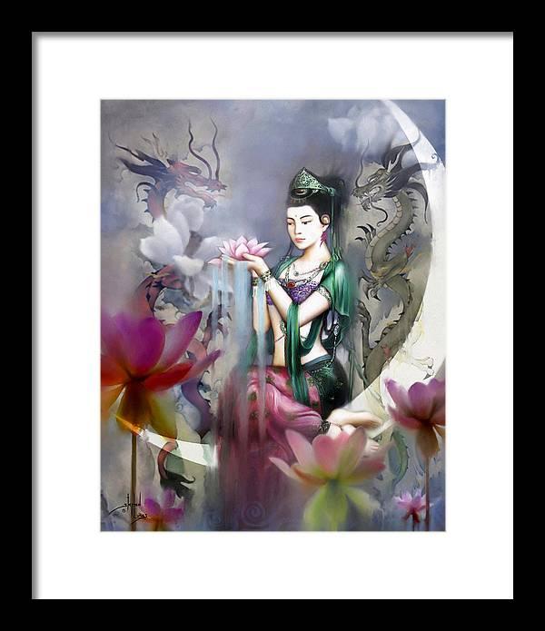 Spiritual Framed Print featuring the digital art Kuan Yin Lotus Of Healing by Stephen Lucas