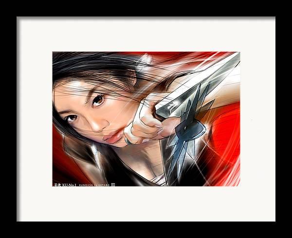Japanese Digital Art Framed Print featuring the digital art Kunai by GETABO Hagiwara