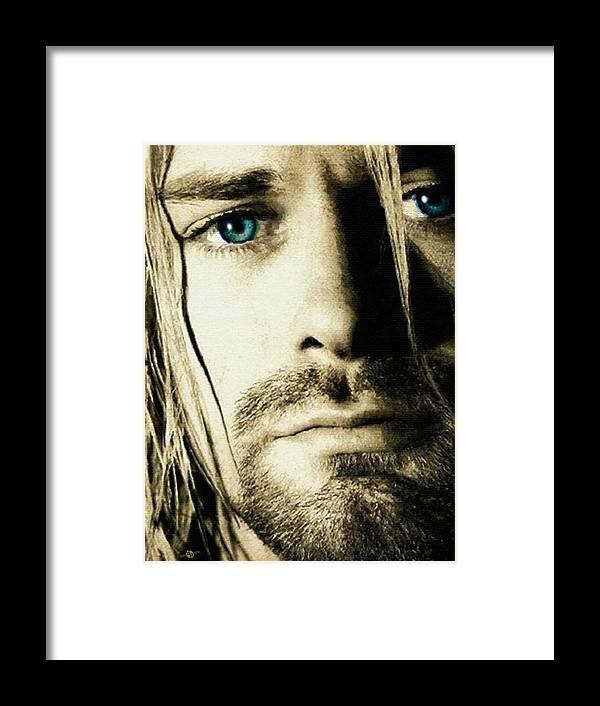 Kurt Cobain Nirvana Close Up Framed Print by Tony Rubino