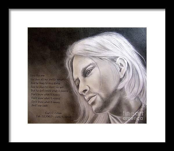 Portrait Framed Print featuring the drawing Kurt Cobain by Oscar Arauz
