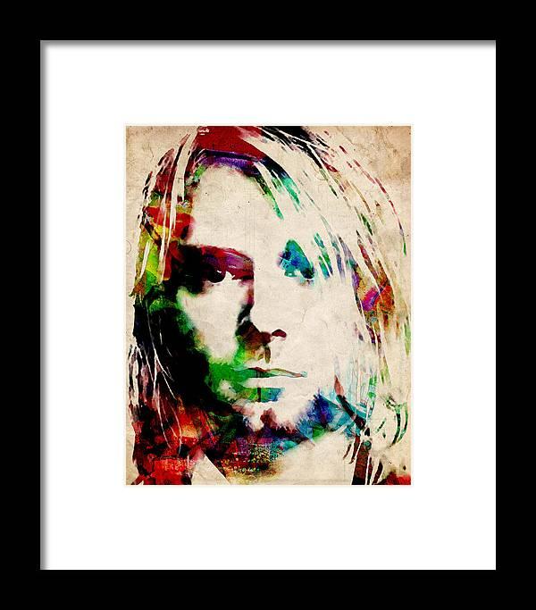 Kurt Cobain Urban Watercolor Framed Print by Michael Tompsett