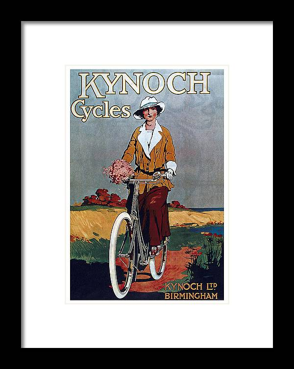 Vintage Framed Print featuring the mixed media Kynoch Cycles - Bicycle - Vintage Advertising Poster by Studio Grafiikka