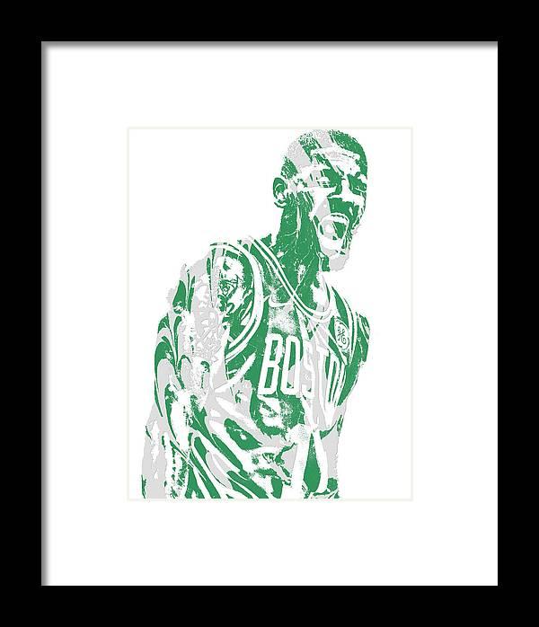Kyrie Irving Boston Celtics Pixel Art 42 Framed Print by Joe Hamilton