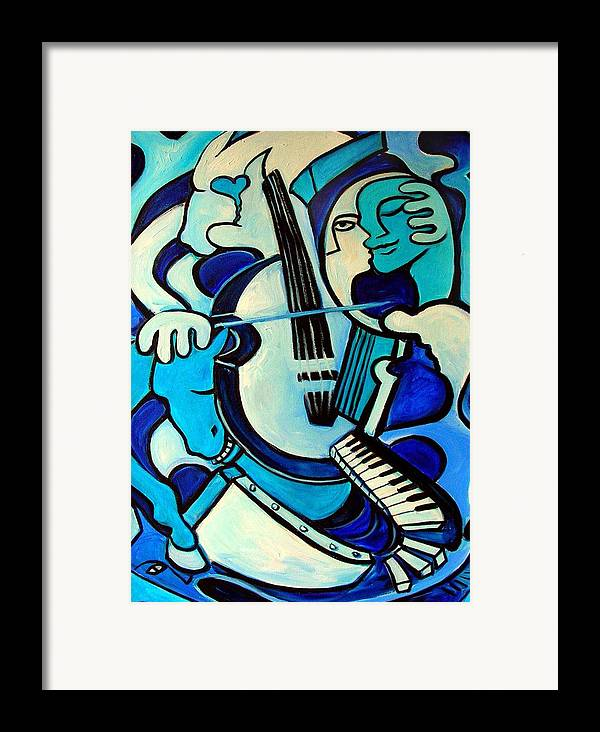 Abstract Framed Print featuring the painting L Amour Ou Quoi by Valerie Vescovi