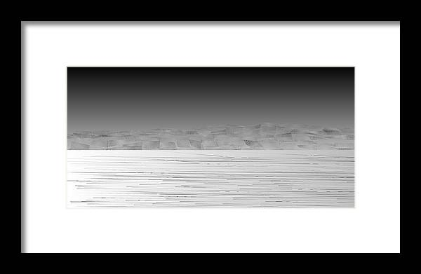 Rithmart Abstract Horizon Land Sky Water Landscape Cloud Clouds Lake Wind Nature Beatiful Serene Ripples Night Day Evening River Grass Earth Planet Digital Computer Generated Organic Random Across Bottom Colors Containing Drawn Grayish Images Layer Lines Made Many Mountain One Partially Section Sections Series Shapes Two Using Visible Framed Print featuring the digital art L21-11 by Gareth Lewis