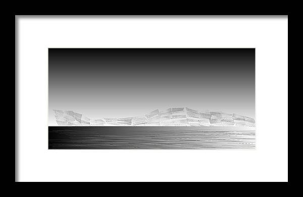 Rithmart Abstract Horizon Land Sky Water Landscape Cloud Clouds Lake Wind Nature Beatiful Serene Ripples Night Day Evening River Grass Earth Planet Digital Computer Generated Organic Random Across Bottom Colors Containing Drawn Grayish Images Layer Lines Made Many Mountain One Partially Section Sections Series Shapes Two Using Visible Framed Print featuring the digital art L21-21 by Gareth Lewis