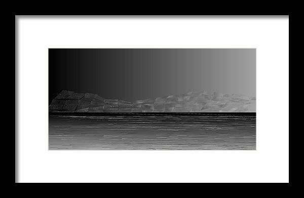 Rithmart Abstract Horizon Land Sky Water Landscape Cloud Clouds Lake Wind Nature Beatiful Serene Ripples Night Day Evening River Grass Earth Planet Digital Computer Generated Organic Random Across Bottom Colors Containing Drawn Grayish Images Layer Lines Made Many Mountain One Partially Section Sections Series Shapes Two Using Visible Framed Print featuring the digital art L21-25 by Gareth Lewis