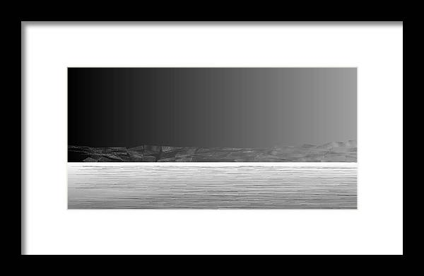 Rithmart Abstract Horizon Land Sky Water Landscape Cloud Clouds Lake Wind Nature Beatiful Serene Ripples Night Day Evening River Grass Earth Planet Digital Computer Generated Organic Random Across Bottom Colors Containing Drawn Grayish Images Layer Lines Made Many Mountain One Partially Section Sections Series Shapes Two Using Visible Framed Print featuring the digital art L21-26 by Gareth Lewis