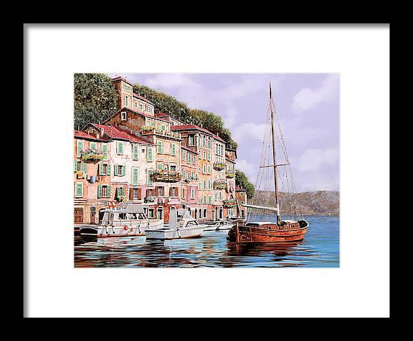 Landscape Framed Print featuring the painting La Barca Rossa Alla Calata by Guido Borelli