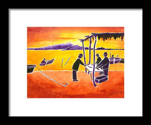 Sun Rise Framed Print featuring the painting La Brecha Pescadors by Buster Dight