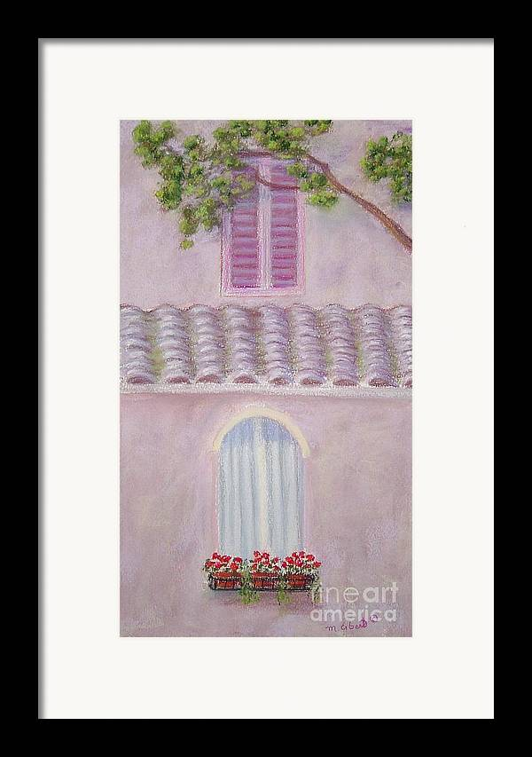 Window Boxes Framed Print featuring the painting La Casa Rosa Lunga Il Treve by Mary Erbert