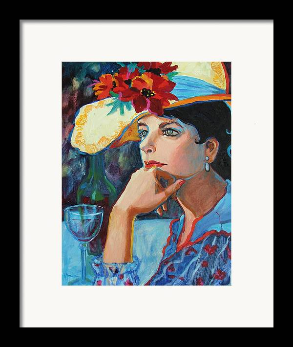 Pretty Lady Framed Print featuring the painting La Chapeau by Dianna Willman