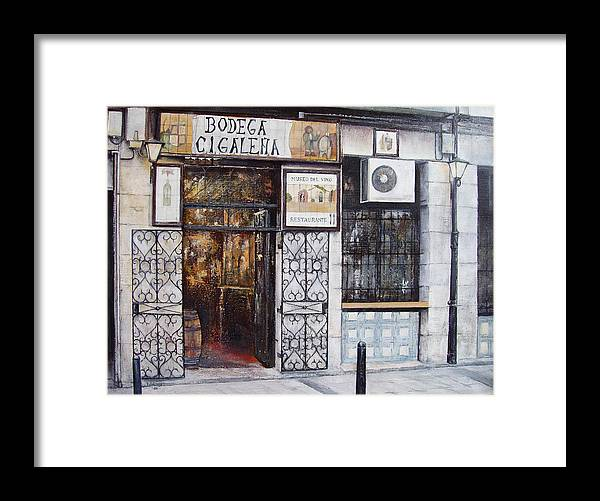 Bodega Framed Print featuring the painting La Cigalena Old Restaurant by Tomas Castano