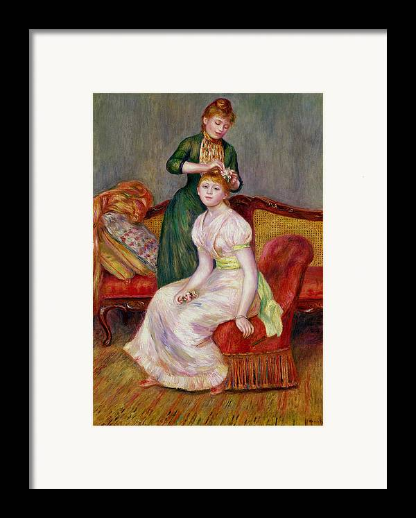Coiffure Framed Print featuring the painting La Coiffure by Renoir