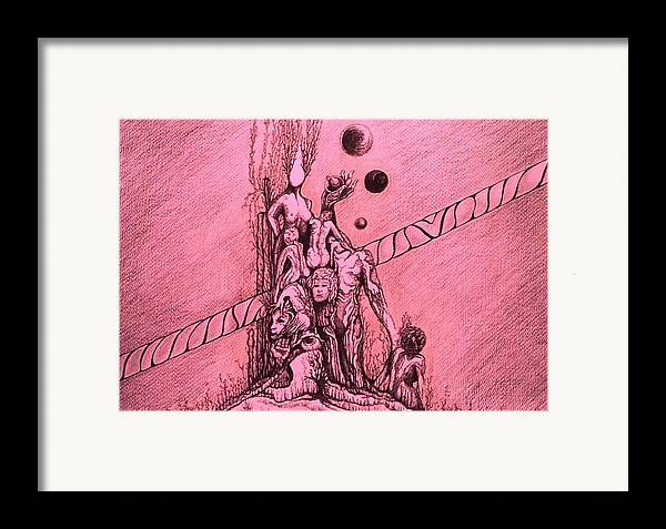 Surreal Artwork Framed Print featuring the painting La Familia by Jordana Sands