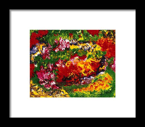 Abstract Framed Print featuring the painting La Fete Au Jardin by Dominique Boutaud