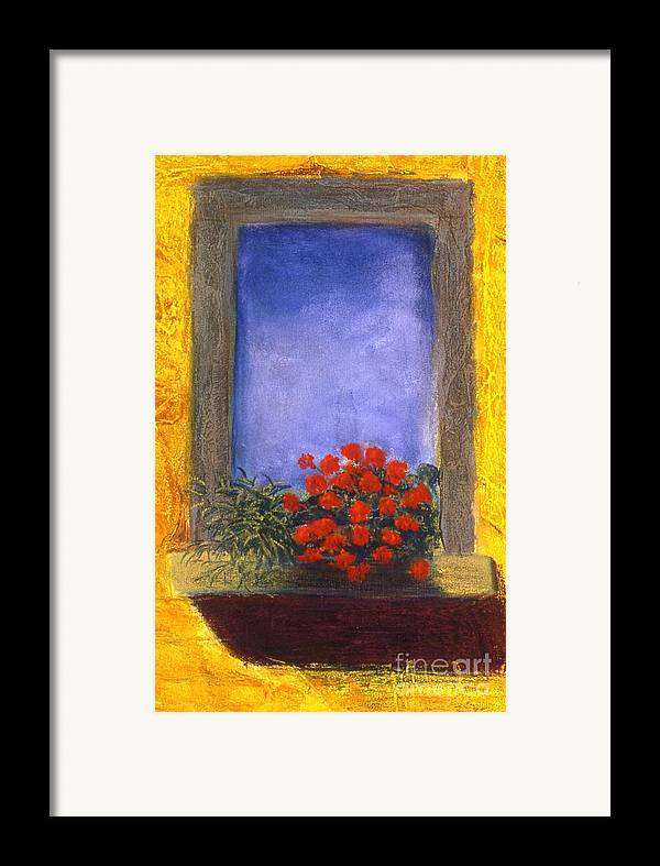 Colorful Framed Print featuring the painting La Finstra Con I Fiori by Mary Erbert