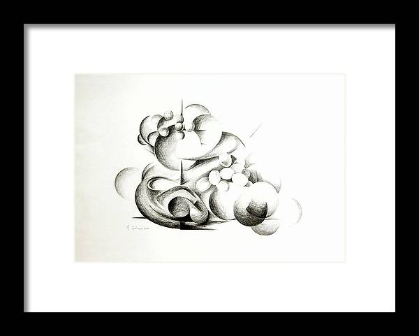 Abstract Framed Print featuring the drawing La guerre des bulles by Muriel Dolemieux