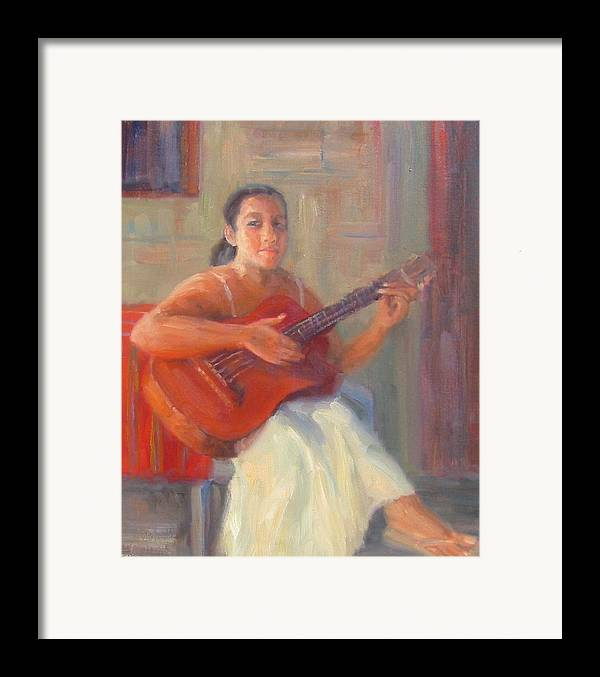 Honduras Framed Print featuring the painting La Guitarista by Bunny Oliver