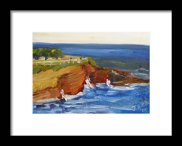 100 Paintings Framed Print featuring the painting La Jolla Cove 017 by Jeremy McKay