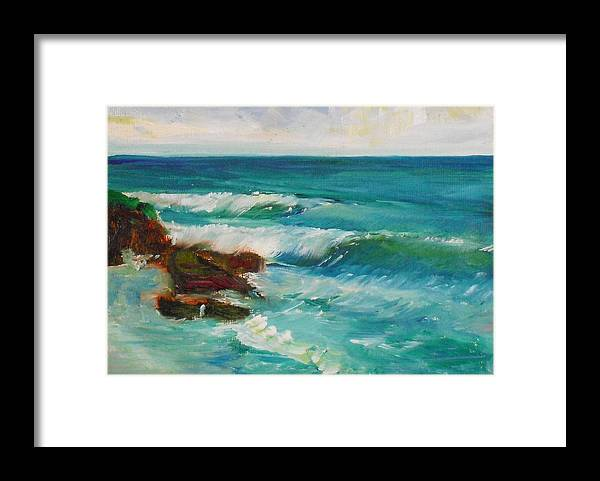 100 Paintings Framed Print featuring the painting La Jolla Cove 027 by Jeremy McKay