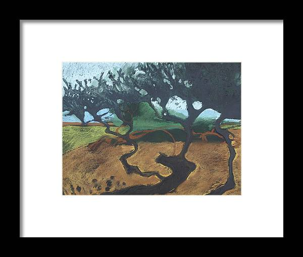 Contemporary Tree Landscape Framed Print featuring the drawing La Jolla I by Leah Tomaino