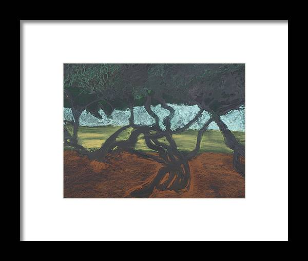 Contemporary Tree Landscape Framed Print featuring the mixed media La Jolla II by Leah Tomaino