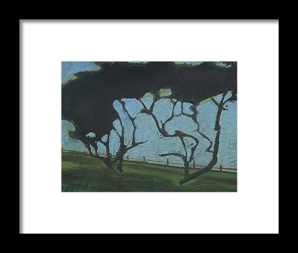 Contemporary Tree Landscape Framed Print featuring the mixed media La Jolla III by Leah Tomaino