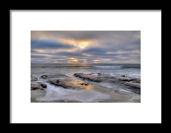 La Jolla Light Beach Sunset Clouds Ocean Waves Landscape Photograph Canvas Cards Rocks Framed Print featuring the photograph La Jolla Light by Kelly Wade