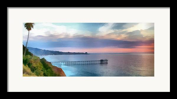 Pier; Scripps; Framed; Sunset; Tides; Waves; Rocks; Shelf; California; La Jolla; Coast; Sea; Ocean; Seascape; Clouds; Photographs; Paintings; Beach; Waves; Shoreline; Landscape; Aerial; Coastal; California; San Diego; La Jolla Beach Framed Print featuring the painting La Jolla Scripps Pier by Russ Harris