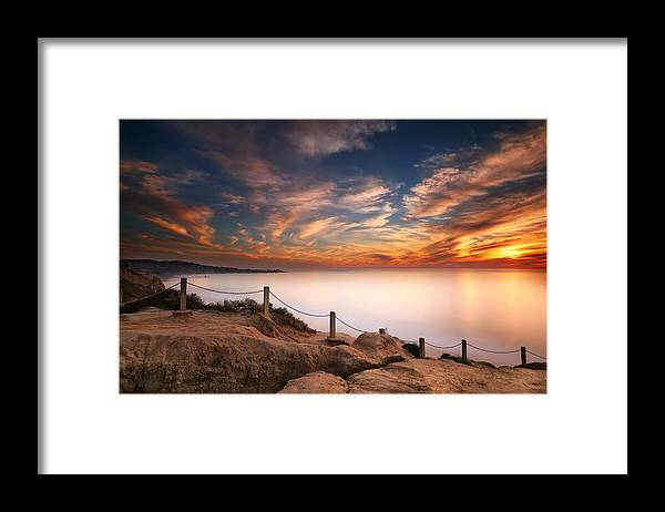 Sun Framed Print featuring the photograph La Jolla Sunset by Larry Marshall