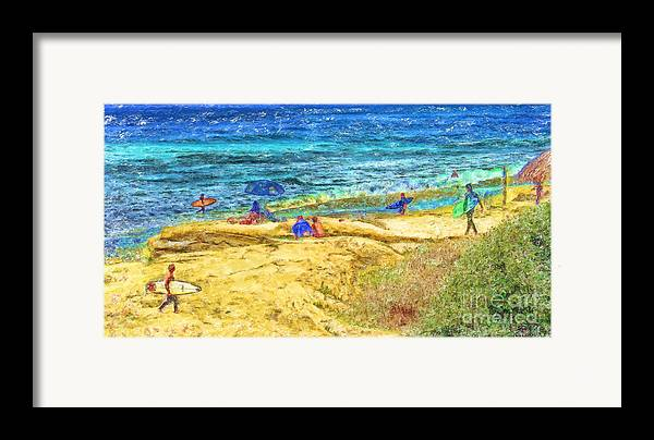 la Jolla Surfers Framed Print featuring the mixed media La Jolla Surfing by Marilyn Sholin
