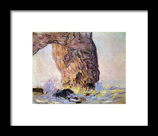Impressionist; Normandy Coast; Coastal; Arch; Waves; Breakers; Falaise Framed Print featuring the painting La Manneporte by Claude Monet